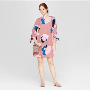 A NEW DAY pink floral elbow sleeve crepe dress